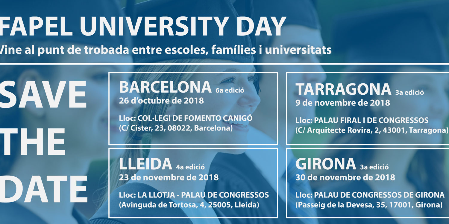 Save the date! Properes edicions del Fapel University Day